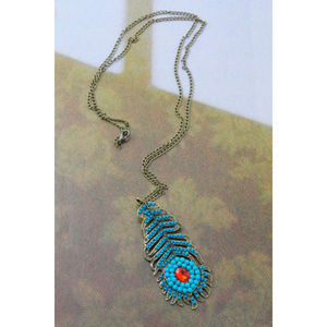 Jewelry - Peacock Feather Beads Pendant Necklace